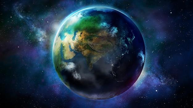 Realistische aarde vanuit de ruimte met afrika en azië. Premium Foto