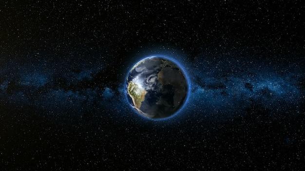 Realistische earth planet tegen de sterrenhemel Premium Foto