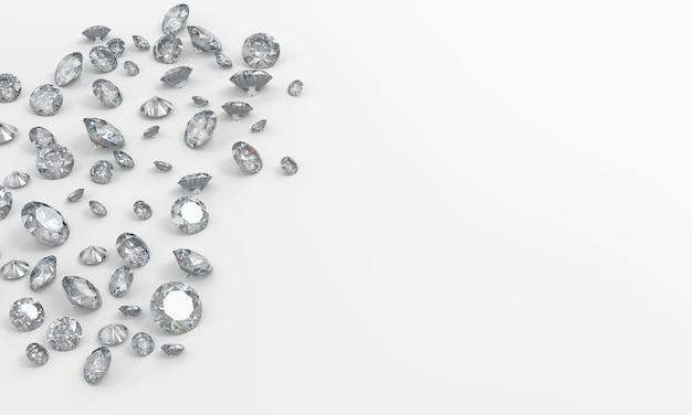 Realistische groep diamant op witte achtergrond met exemplaar het ruimte hoogste mening 3d teruggeven Premium Foto