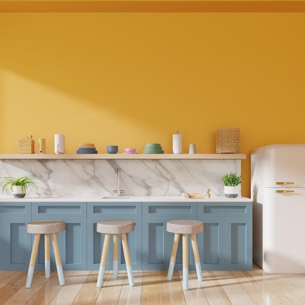 Realistische keukeninterieur. Premium Foto