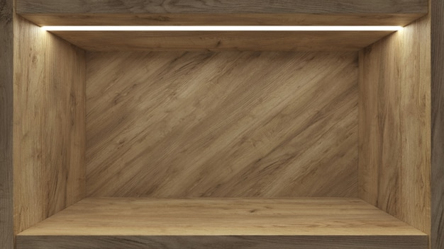 Realistische lege plank voor promotie ontwerp achtergrond. lege display beursstand Premium Foto