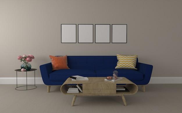 Realistische mockup van 3d weergegeven van interieur van moderne woonkamer met bank - bank en tafel Premium Foto