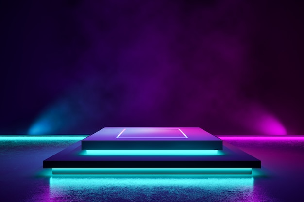 Rechthoek podium met rook en paars neonlicht Premium Foto