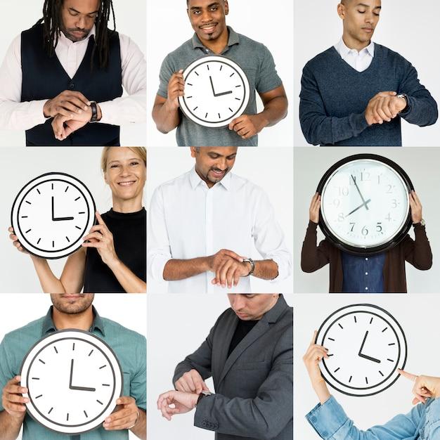 Reeks diverse mensen met de collage van de collage van het tijdbeheer Premium Foto