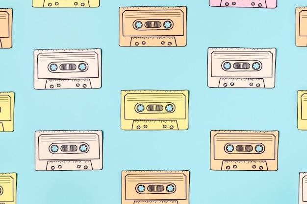 Regeling van cassettebandje op blauw Gratis Foto
