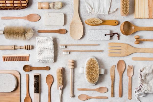 Regeling van spa- en beautyaccessoires bovenaanzicht Gratis Foto