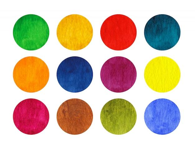 Regenboog aquarel cirkels geïsoleerd op een witte achtergrond Premium Foto