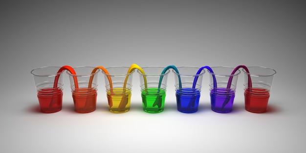 Regenboog lopend waterexperiment op lege achtergrond. concept van de wetenschap. glazen in rij met gekleurd water en nat papier ertussen. Premium Foto