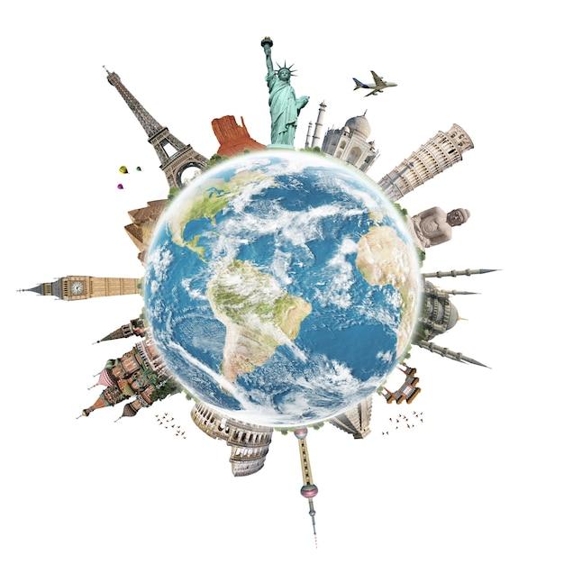 Reis het concept van het wereldmonument Premium Foto