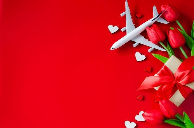 Reizen plannen op valentijnsdag achtergrond Premium Foto