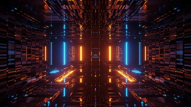 Rendering van abstracte futuristische achtergrond met gloeiende neon blauwe en oranje lichten Gratis Foto