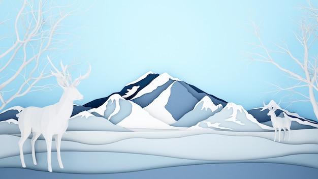 Rendier op ijs berg achtergrond Premium Foto