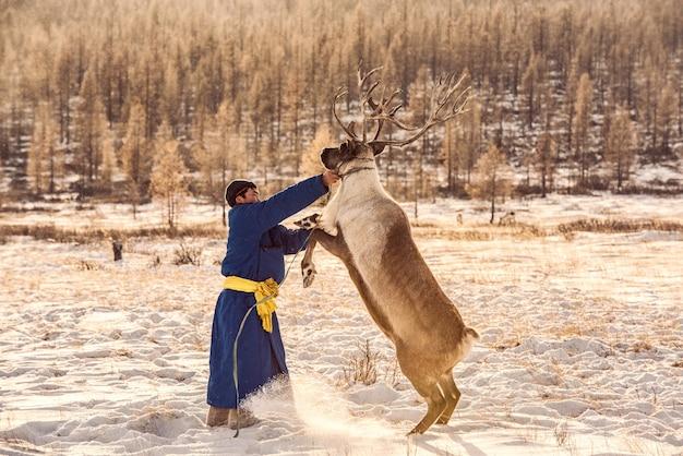 Rendieren herderskamp op de achtergrond bij de grens met rusland in taiga, mongolië Premium Foto