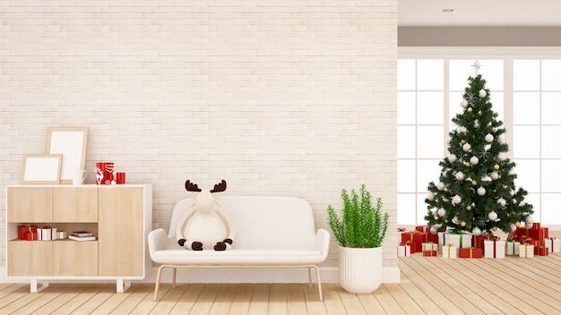 Rendierenpop op bank in woonkamer voor appartement of huiskunstwerk Premium Foto