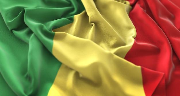 Republiek congo vlag ruffled mooi wapperende macro close-up shot Gratis Foto