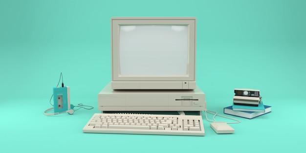 Retro computer, audiospeler en fotocamera Premium Foto