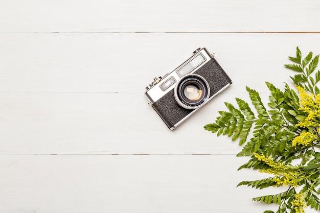 Retro fotocamera en varenbladeren Gratis Foto