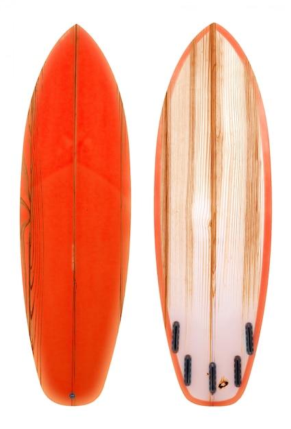 Retro houten shortboardsurfplank die op wit met het knippen van weg voor voorwerp, uitstekende stijlen wordt geïsoleerd. Premium Foto