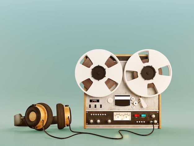 Retro oude bandrecorder en hoofdtelefoons Premium Foto