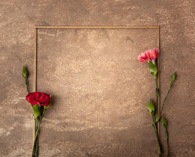 Retro sepia frame met kleine anjerbloemen Gratis Foto