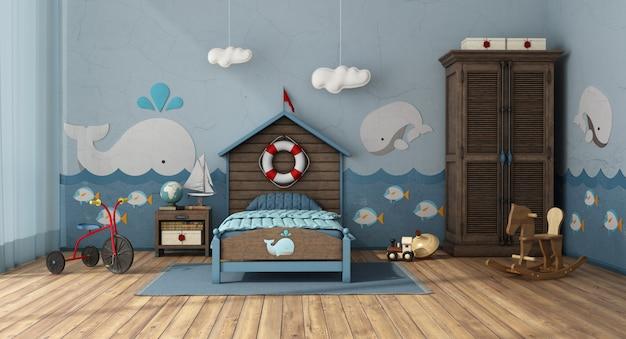 Retro-stijl kinder slaapkamer met houten bed en kast Premium Foto