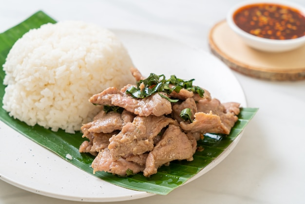 Rijst met gegrild varkensvlees en knoflook Premium Foto