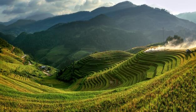 Rijstvelden op terrassen van mu cang chai, yenbai, vietnam. vietnam landschappen. Premium Foto