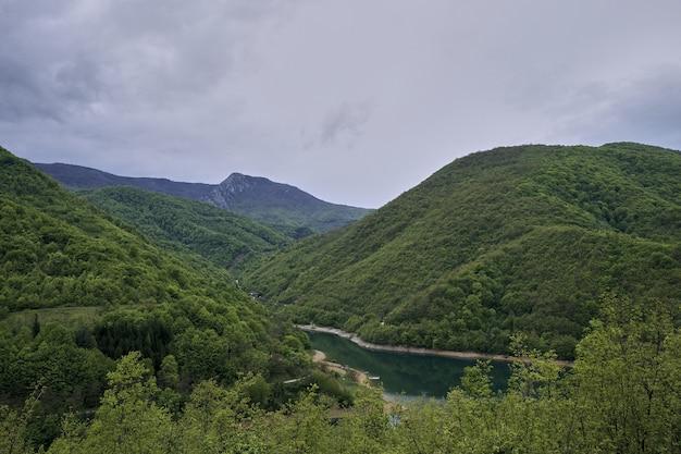Rivier omgeven door bergen bedekt met bossen onder een bewolkte hemel Gratis Foto