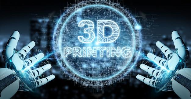 Robot witte hand met behulp van 3d-printing digitale hologram 3d-rendering Premium Foto