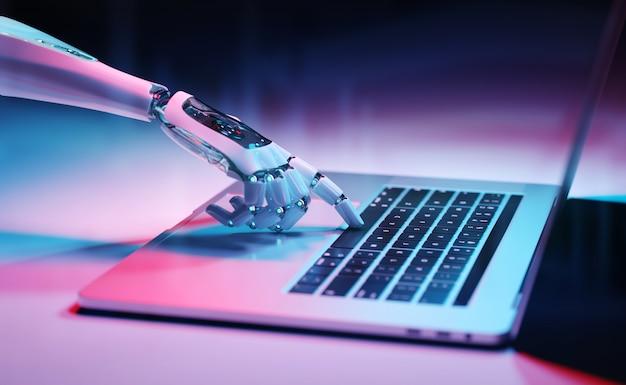 Robotachtige hand die een toetsenbord op laptop het 3d teruggeven drukt Premium Foto