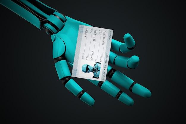 Robothand met een paspoort met zijn foto en identificatienummer. Premium Foto