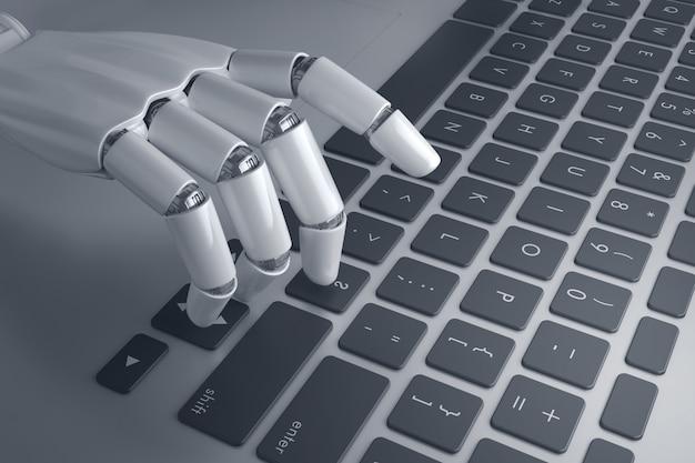 Robothand op een knop op het toetsenbord drukken Premium Foto