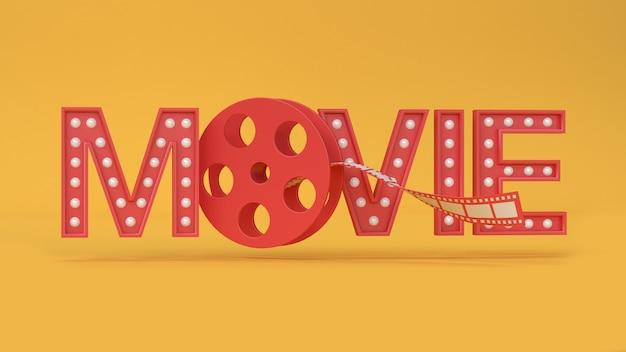 Rode 3d film type-tekst letters roll film gele achtergrond 3d-rendering film, bioscoop, entertainment. Premium Foto