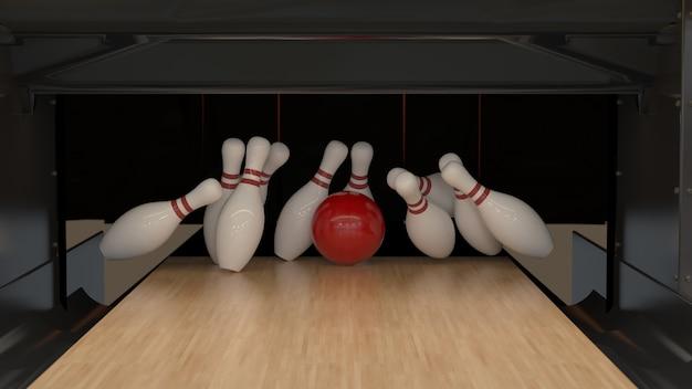 Rode bowling staking bal op een houten track met pinnen Premium Foto