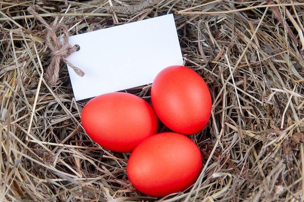 Rode eieren met een noot in het hooi. mock up, concept pasen. Premium Foto