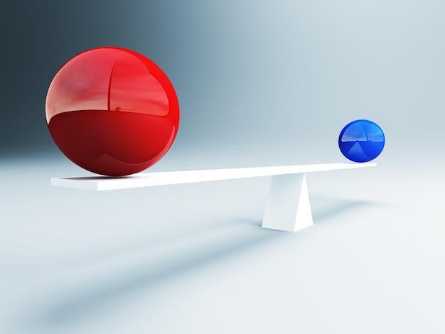 Rode en blauwe uitgebalanceerde ballen Premium Foto