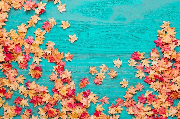 Rode en gele bladeren op gekleurde achtergrond Gratis Foto