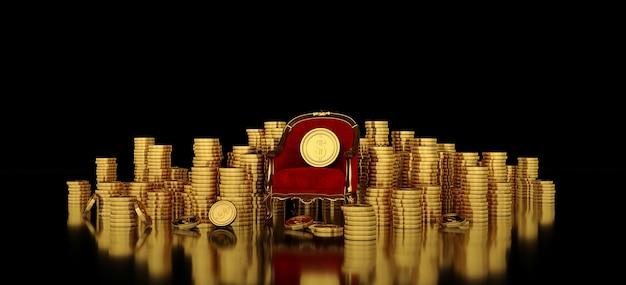 Rode fauteuil met gouden dollarmunt bovenop zijn omgeven door stapmunten. Premium Foto