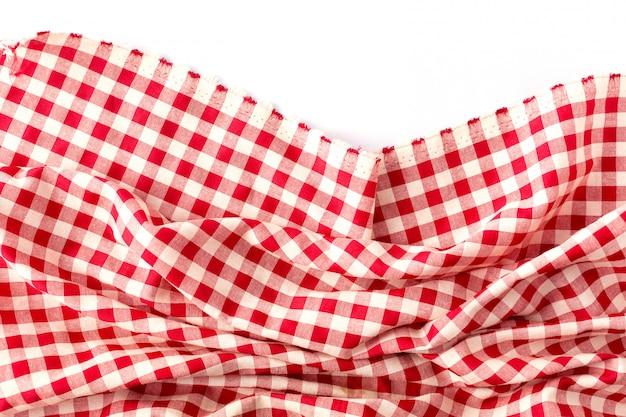 Rode lijstdoek op witte achtergrond Premium Foto