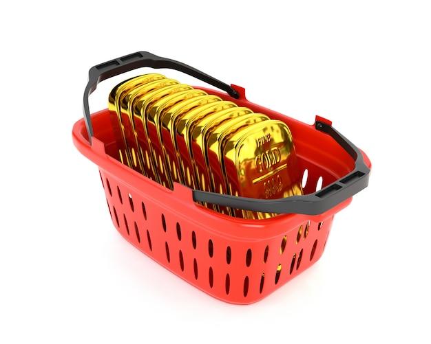 Rode plastic mand en gouden passement geïsoleerd op een witte achtergrond. goud- en valutareserves. 3d illustratie. Premium Foto