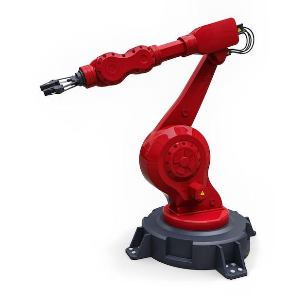 Rode robotarm voor elk werk in een fabriek of productie. mechatronische apparatuur voor complexe taken Premium Foto