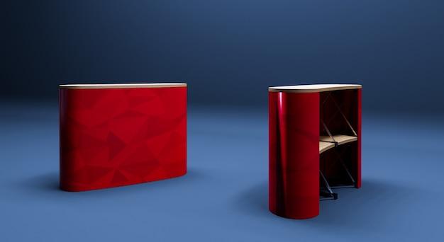 Rode roll-up tabel 3d-realistische render op donkerblauwe achtergrond. Premium Foto