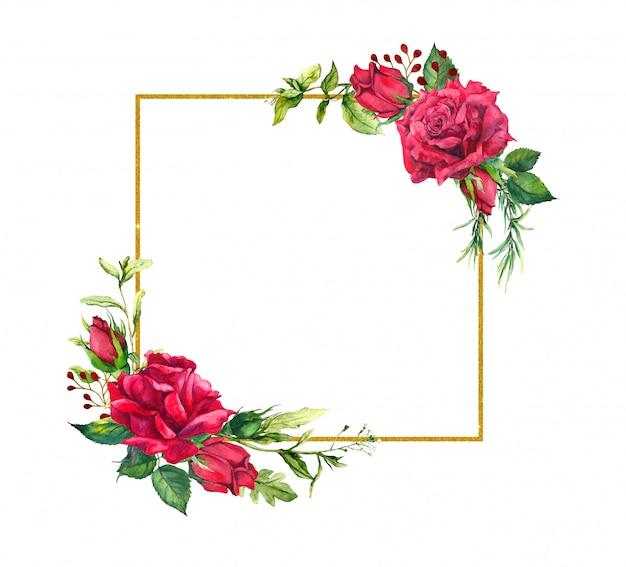 Rode rozen, vierkante gouden rand. aquarel frame met bloemen, wild gras en goud Premium Foto