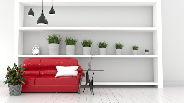 Rode sofa woonkamer interieur moderne kamer, planten en rode sofa. 3d-rendering Premium Foto