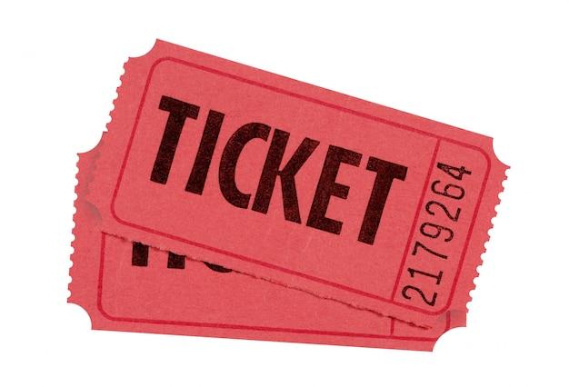 Rode toelating of loten tickets geïsoleerd tegen wit Premium Foto