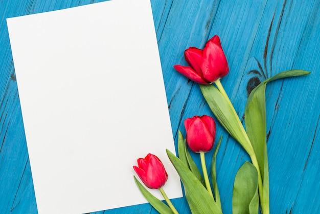 Rode tulpen op een blauwe houten bord Premium Foto