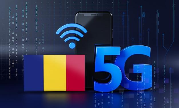 Roemenië klaar voor 5g-verbindingsconcept. 3d-rendering smartphone technische achtergrond Premium Foto