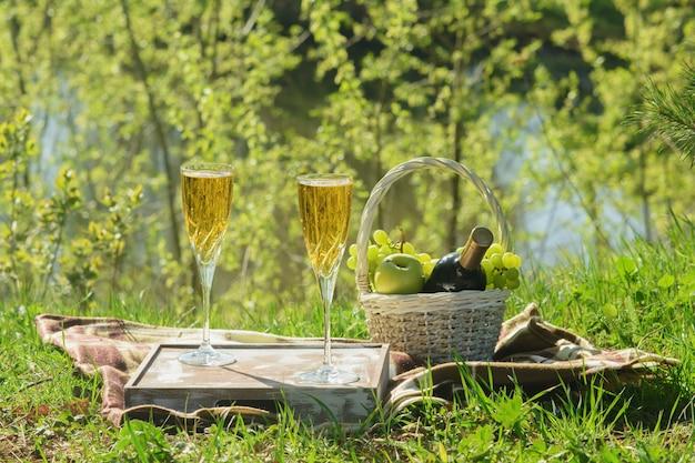 Romantische lunch op deken in forest side view Premium Foto