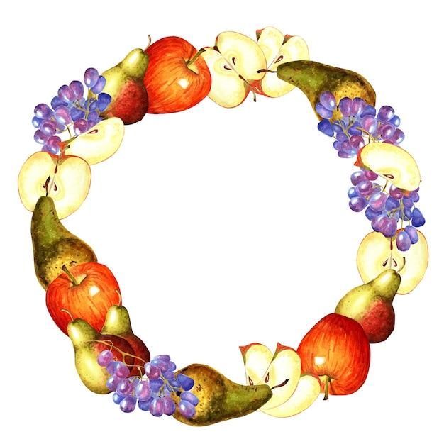 Rond frame gemaakt van appels, peren en druiven. aquarel illustratie geïsoleerd op een witte achtergrond. Premium Foto