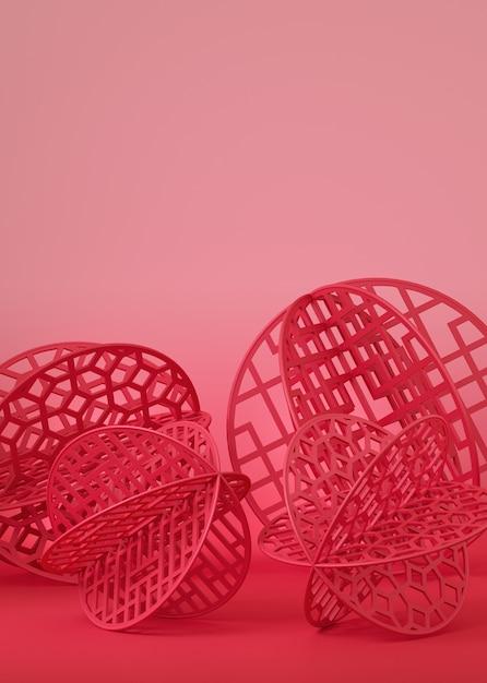 Rood chinees papier gesneden in bal vorm op roze achtergrond. Premium Foto
